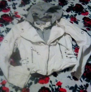 GUESS White DENIM Hooded MOTORCYCLE Coat/Jacket